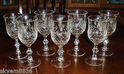 7 Crystal  Cordial's Sherry Goblet's PINEAPPLES STAR'S FAN'S RARE