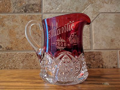 """Vintage Atlantic City 1906 Souviner Red Glass / Crystal Pitcher """"From Mother"""""""