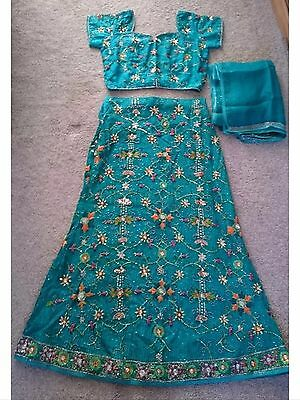 Stunning Sari Lengha Bollywood Outfit Size 14 Amazing Embroidery