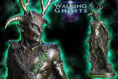 Bronze Cernunnos Horned God Celtic Pagan Wiccan Alter Statue Sculpture Witch UK