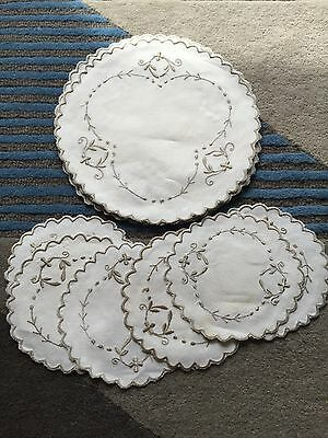 Vintage set of embroidered six linen placemats and six matching coasters