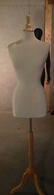 Free Shipping Used Female Dress Form size 6/8 w/ Natural Wood Tripod Base & Top