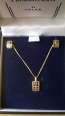 Stunning 9ct Yellow Gold Charles Rennie Mackintosh Style Earrings & Pendant Set