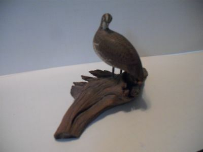 Vintage wooden hand carved & painted Quail bird