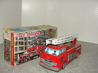 VIntage 1950's Japan Ladder Fire Engine Truck in the Box