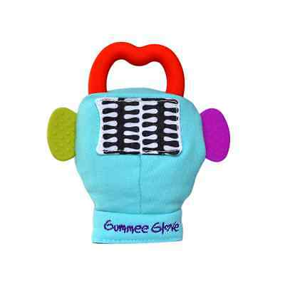 The Gummee Glove Turquoise Baby Teething Mitten with Silicone Teether Ring