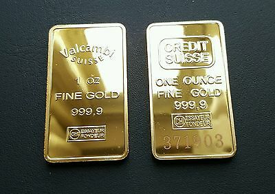 Lingotto Credit Suisse One Ounce Fine Gold Plated E Valcambi Placcato Oro 24Kt