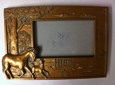 """Vintage Look Mare & Foal Horses Picture Frame - Resin, Holds 4"""" x 6"""" Photo"""
