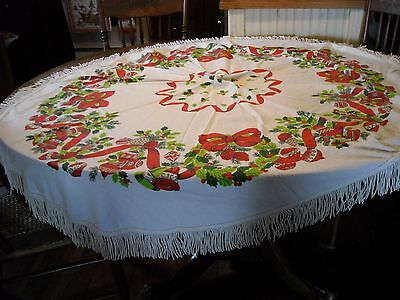 Vintage Christmas round tablecloth with fringe
