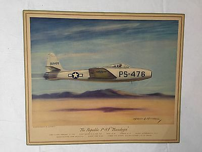 """Aviation Lot of 12 Lithographs 1929-1946 Military Jets by C.H.Hubbell 15"""" x 12"""""""