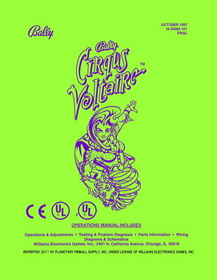 Cirqus Voltaire Game Operations/Service/Repair Manual/Pinball Machine Bally  PPS