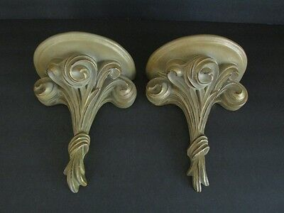 Matched Pair Bombay Company Gold Washed Wall Display Shelves Scrolled Bouquet
