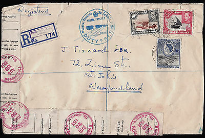 1954 Uganda to Newfoundland Registered Cover Officially Repaired