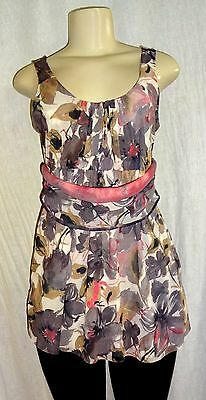 Anthropologie Sweet Pea New L  Ruched Mesh Knit Watercolor Surplice Top Large
