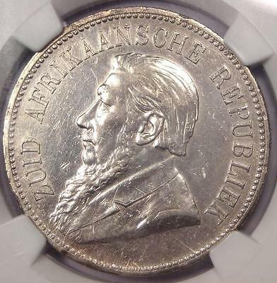 1892 South Africa Zar 5 Shillings Coin 5S with Single Shaft - NGC AU Details!