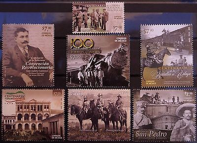 Mexico 2013 - 2015 Mexican Revolution Collection 7 Stamps Horses War History MNH