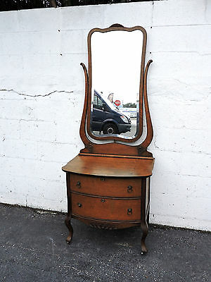 Tall Early 1900's Birds Eye Maple Vanity with Mirror 7864