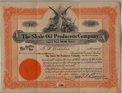 Original 1925 Stock Certificate The Shale Oil Producers Company Wyoming