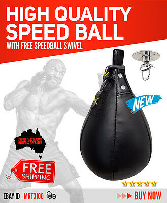 Leather Speed Ball With Free Swivel Punch Bag Speedball Mma Ufc Fitness Boxing