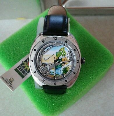 NWT Vintage Jim Henson's Muppets Kermit the Frog Leather Golf Watch Ladies Mans