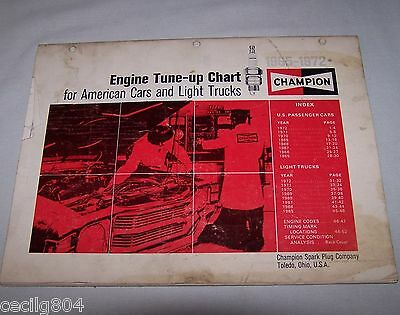 Vintage 1965-1972 Champion Tune-Up Specifications Manual