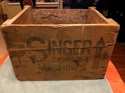 Vintage Singer Sewing Machine Wooden Shipping Crate Box