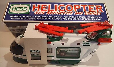 Hess 2001 Helicopter with Motorcycle and Cruiser New NIB with ORIGINAL HESS BAG