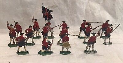 16 Antique Lead Flat Hand Painted British Soldiers