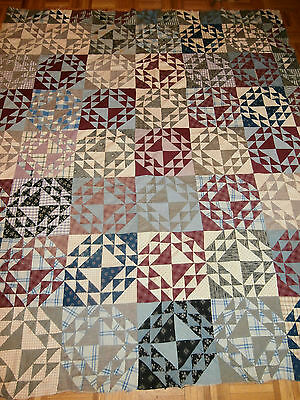"""Antique Goose in the Pond pattern quilt top 70"""" x 79"""" early fabrics hand pieced"""