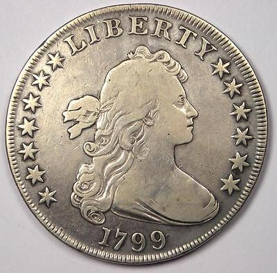1799 Draped Bust Silver Dollar $1 - Fine / VF Details - Rare Type Coin!