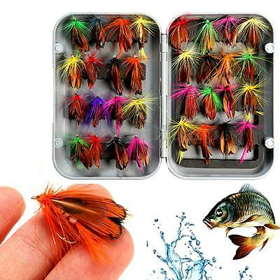 32x 1.5cm Mixed Dry Trout Flies Lure Fly Fishing Flies Hook Tackle with Box New