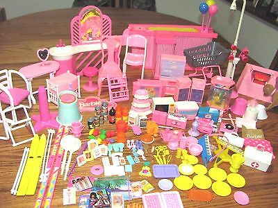 Vintage Lot Of Barbie Furniture & Accessories~Food Items~So Much More