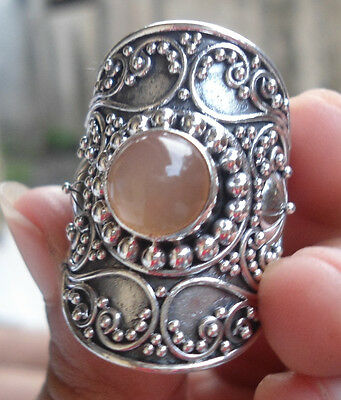 925 Sterling Silver-LH44-Balinese Handcrafted Large Ring Orange Moonstone Size 7