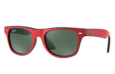 NEW Authentic RAY-BAN Junior Wayfarer Red Black Kids Sunglasses RJ9035S 162/71