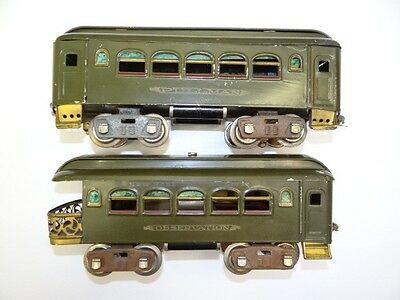 Ungraded Old Lionel Corp Pre-War Pullman Observation Passenger Model Train Cars