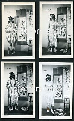 VINTAGE 1940s STRIPTEASE 8 PHOTO SET ASIAN WOMAN IN MASK RISQUE NUDE PIN UP WWII