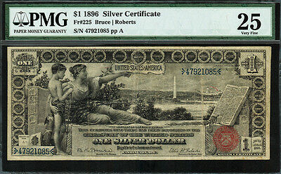 1896 $1 Silver Certificate FR-225 - Educational Note - Graded PMG 25 - Very Fine