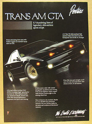 1988 Pontiac Trans Am GTA black car color photo vintage print Ad