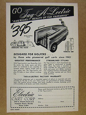 1956 Tag-a-Lectric streamlined Electric Golf Cart vintage print Ad