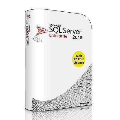 Microsoft SQL Server 2016 Enterprise. Complete with 32 Core License. New.