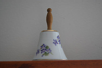 """Enesco Price Reduced Porcelain Bell W/ Wooden Handle & Violet Flowers 4"""""""