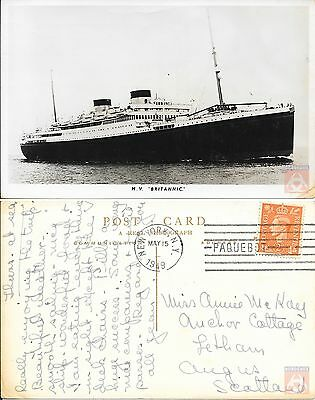 Angleterre - Carte Postale PAQUEBOT - BRITANNIC - Posted at Sea 1949 - New York