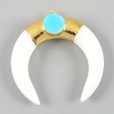 Crescent Double Horn White Agate & Howlite Turquoise Charm Gold Plated T025019