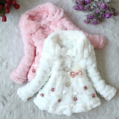 Girls Baby Toddlers Faux Fur Kids Coat Size 6,8,10,12,14 New Warm Jacket