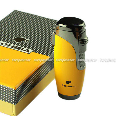 New COHIBA Yellow Metal 3 Torch Jet Flame Clamshell Wind-Proof Cigar Lighter