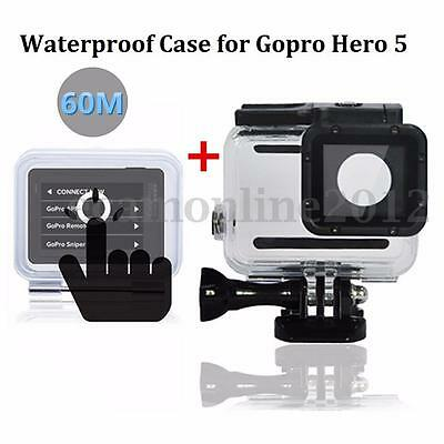 60M Waterproof Diving Housing Case+Touch Screen Backdoor Cover For Gopro Hero 5