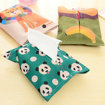 Cotton Cartoon Tissue Box Napkin Cover Paper Holder Handkerchief Case Decor SEAU