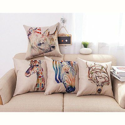 Retro Cute Cartoon Linen Print Animal Home Sofa Decor Cushion Cover Pillow Case