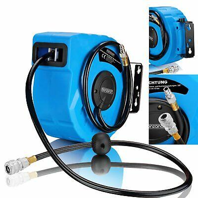 """1/4"""" Automatic Hose Reel Compressed Air Pipe 10m 12 Bar Swing 180° Wall Mount"""