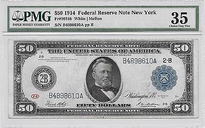 "VERY SCARCE!! 1914 LARGE-SIZE $50 ""TYPE-B"" NEW YORK  Fr-1031b PMG CHOICE VF-35!!"